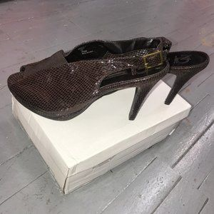 New Direction Shoes - New Direction Brooklyn Brown Snakeskin Heel Sz 9.5